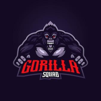 Logo della mascotte della gorilla con il moderno concetto di illustrazione