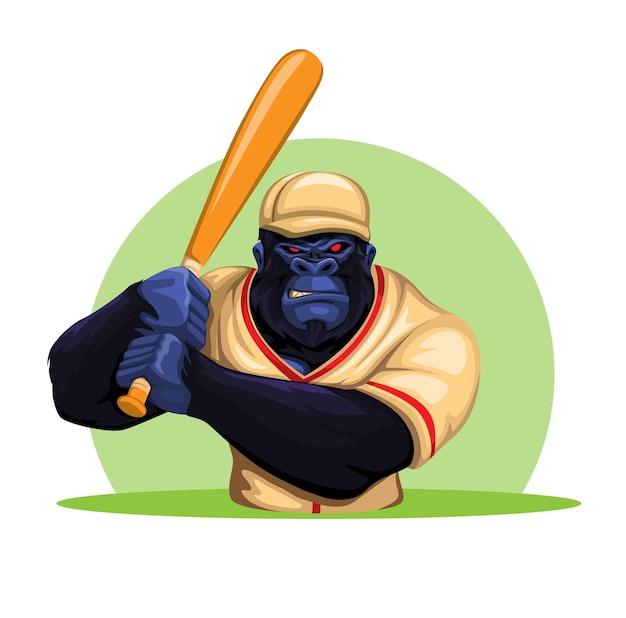 Scimmia gorilla in costume da baseball che tiene mazza pronta a giocare illustrazione vettoriale di mascotte del personaggio