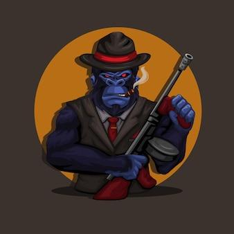 Vettore dell'illustrazione della mascotte del carattere del costume della mafia della scimmia della gorilla