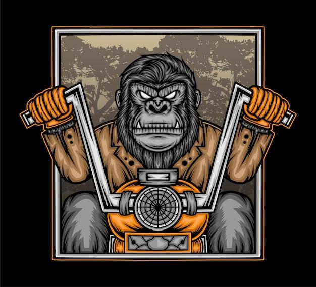 Gorilla in sella a una motocicletta. vettore premium