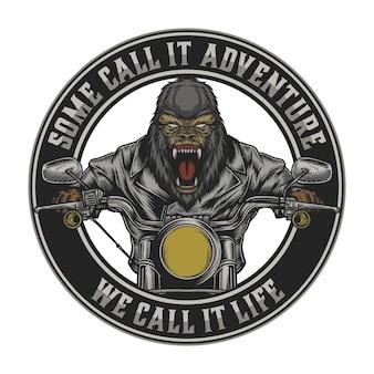 Gorilla in sella a una motocicletta vintage. facile cambiare il testo