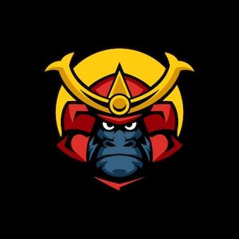 Modelli di logo gorilla samurai