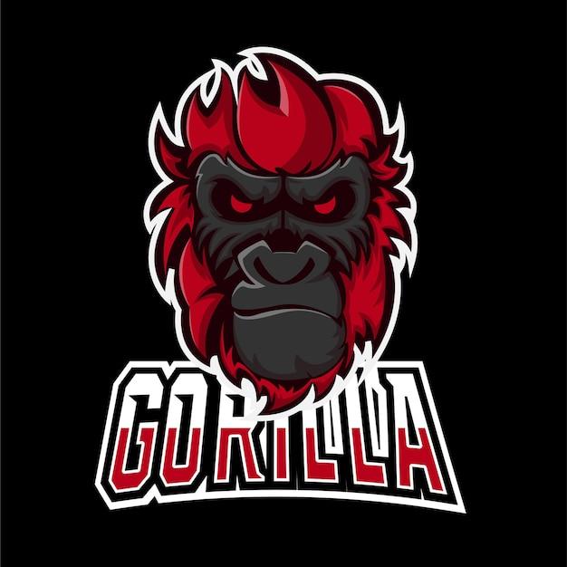 Logo della mascotte del gioco gorilla sport ed esport