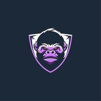 Modello di logo della mascotte di sport della gorilla