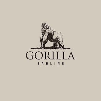 Logo vintage gorilla con linea disegnata a mano