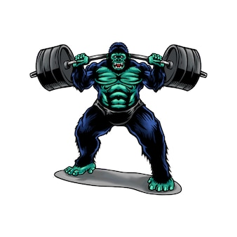 Sollevamento pesi di gorilla