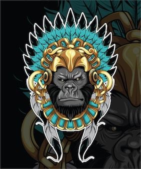 Gorilla con illustrazione cappello indiano
