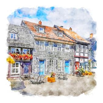 Illustrazione disegnata a mano di schizzo ad acquerello di goslar germania