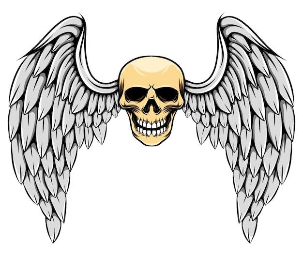 Illustrazione gotica del teschio morto con grandi ali di piume