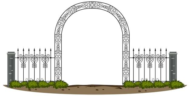Cancello in metallo gotico su sfondo bianco