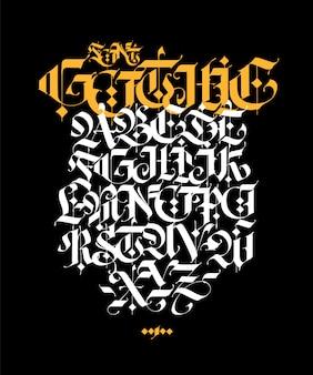Alfabeto in stile gotico. lettere e simboli su uno sfondo nero.