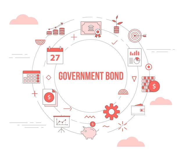 Concetto di titoli di stato con banner modello set con forma rotonda cerchio