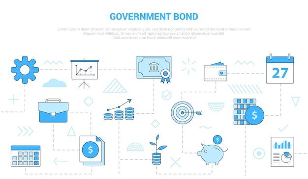 Concetto di titoli di stato con modello impostato