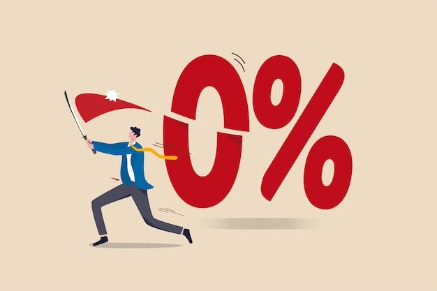 La banca centrale del governo, la federal reserve, la fed hanno tagliato il tasso di interesse per essere tassi di interesse negativi per lo stimolo economico nel concetto di pandemia di coronavirus, l'uomo d'affari ha tagliato il numero 0 per cento con la sua spada.