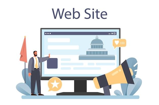 Servizio o piattaforma online di pubbliche relazioni pubbliche. partiti o istituzioni politiche, pubblica amministrazione e promozione. sito web. illustrazione vettoriale piatta