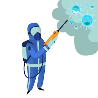 Gli impiegati del governo danno spray disinfettante per uccidere il covid19