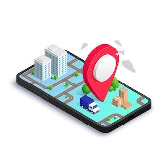 App di concetto isometrico di consegna della città gps