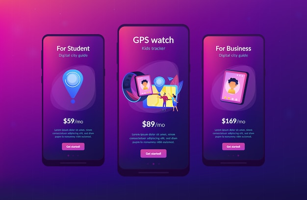 Modello di interfaccia app tracker per bambini gps.