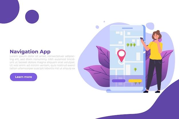 App di navigazione gps, concetto di mappa di ricerca.