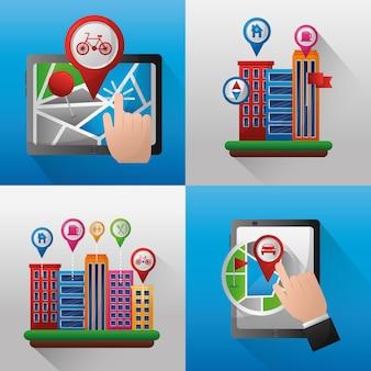 Localizzazione di banner di applicazioni di navigazione gps posiziona gli edifici
