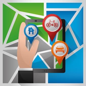 Gps navigation application hand holding tecnologia pin mappe posti auto per biciclette