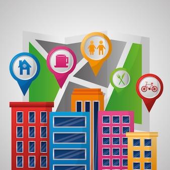 Applicazione di navigazione gps molti edifici luoghi ubicazioni destinazione
