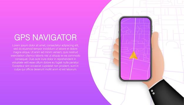 Modello di banner di navigazione gps. applicazione di mappe per smartphone. perno della mappa
