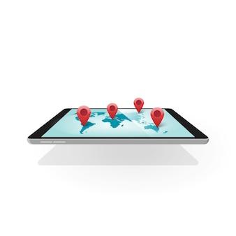 Indicatori pin della mappa della posizione di navigazione gps sul dispositivo tablet come tecnologia di posizionamento mondiale globale