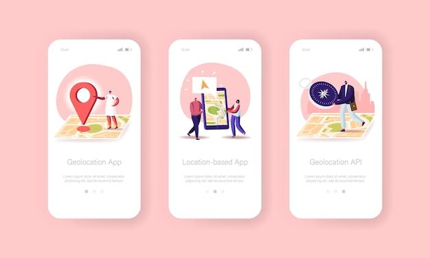 Modello di schermo integrato della pagina dell'app mobile di posizionamento della navigazione gps