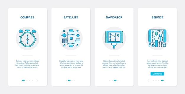 Tecnologia della linea di servizio di navigazione gps ux, set di schermate della pagina dell'app mobile di onboarding dell'interfaccia utente