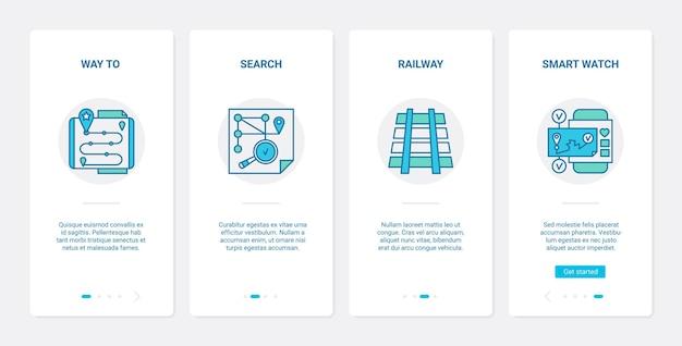 Servizio di navigazione gps. ux, l'app mobile di onboarding dell'interfaccia utente ha impostato la tecnologia digitale per il telefono per cercare la direzione verso la posizione, la ferrovia, i simboli dell'orologio intelligente