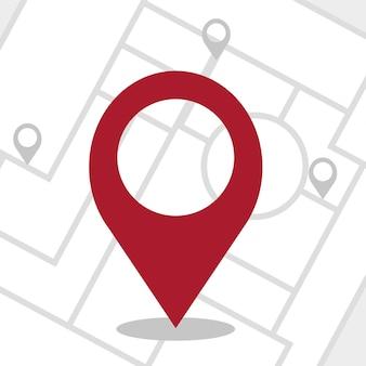 Gps - pin del navigatore che controlla il colore rosso su sfondo bianco e grigio. illustrazione vettoriale