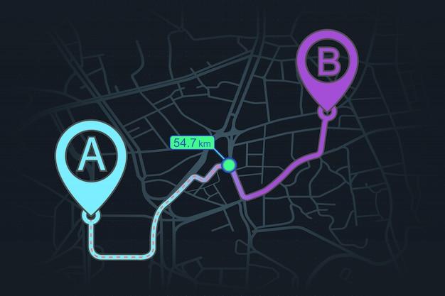 Concetto di tracciamento gps dal punto a al punto b
