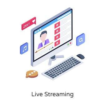 Prendi questa incredibile illustrazione isometrica del live streaming