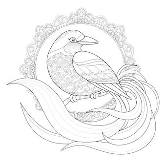 Grazioso uccello da colorare pagina in stile squisito