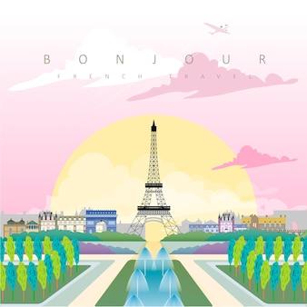 Grazioso poster di viaggio francia con la torre eiffel