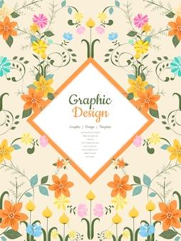 Design grazioso modello con elementi floreali Vettore Premium