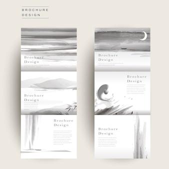 Grazioso modello di brochure ripiegabile a tre ante in stile inchiostro e lavaggio