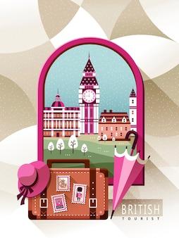 Grazioso poster di viaggio del regno unito con uno scenario fuori dalla finestra
