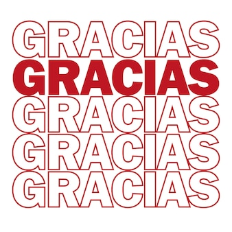 Grazie. grazie in spagnolo. illustrazione vettoriale. stampe e poster moderni motivanti, biglietti di auguri - colori rosso e bianco