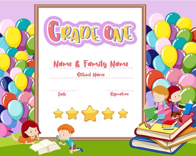 Modello di certificato di diploma di grado uno