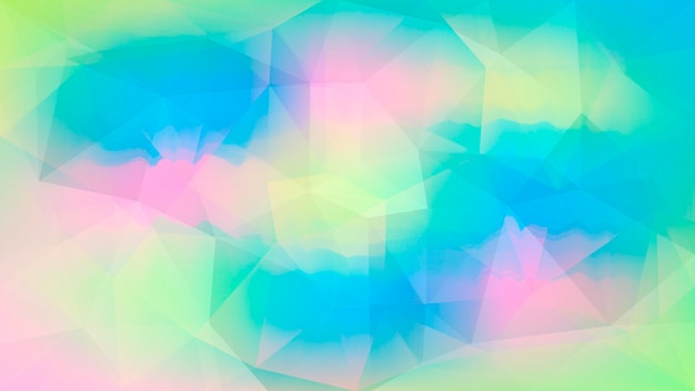 Fondo orizzontale astratto del triangolo di pendenza. sfondo poligonale multicolore arcobaleno vibrante per presentazione aziendale. bandiera astratta geometrica alla moda. volantino del concetto di tecnologia. stile mosaico.