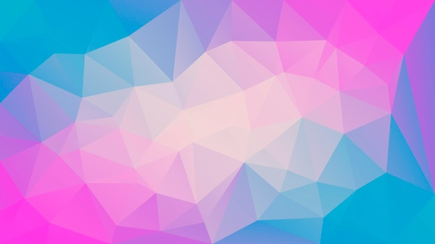 Fondo orizzontale astratto del triangolo di pendenza. sfondo poligonale giallo, rosa e blu per applicazioni mobili e web. bandiera astratta geometrica alla moda. volantino del concetto di tecnologia. stile mosaico.