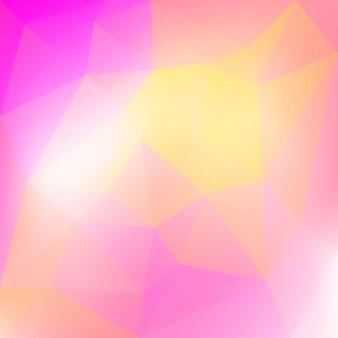 Sfondo sfumato triangolo quadrato astratto. sfondo poligonale rosa e giallo caldo per la presentazione aziendale. bandiera astratta geometrica alla moda. progettazione di volantini aziendali. stile mosaico.