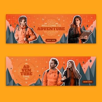 Banner di avventura sfumata con foto