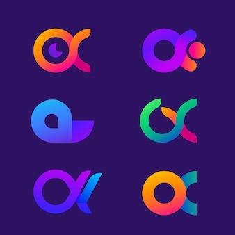 Collezione logo alfa gradiente