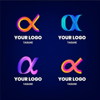 Collezione di modelli di logo alfa gradiente