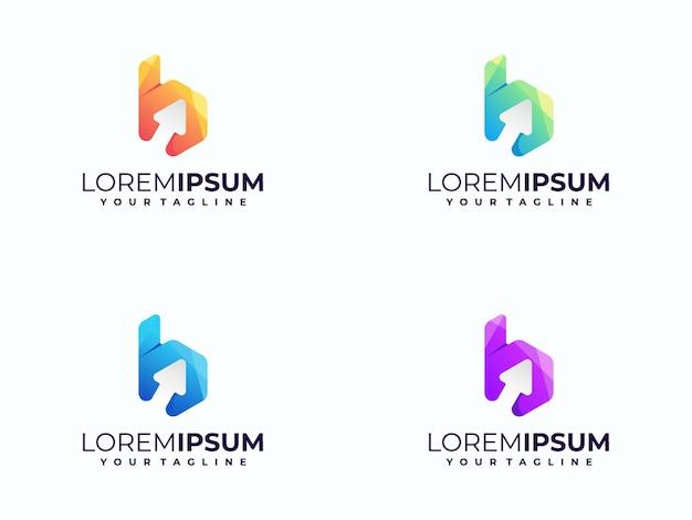 Logo freccia gradiente con lettera isolato su bianco