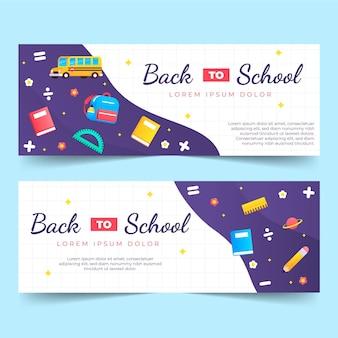 Set di banner orizzontali di ritorno a scuola con gradiente