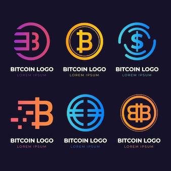 Pacchetto loghi bitcoin sfumati